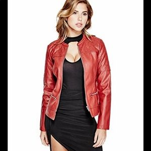 Guess Leather Red Jacket